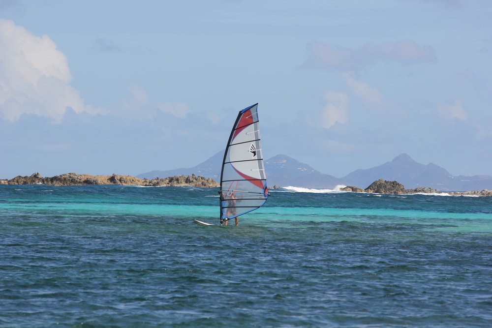 windsurfer at Orient Beach in St. Martin