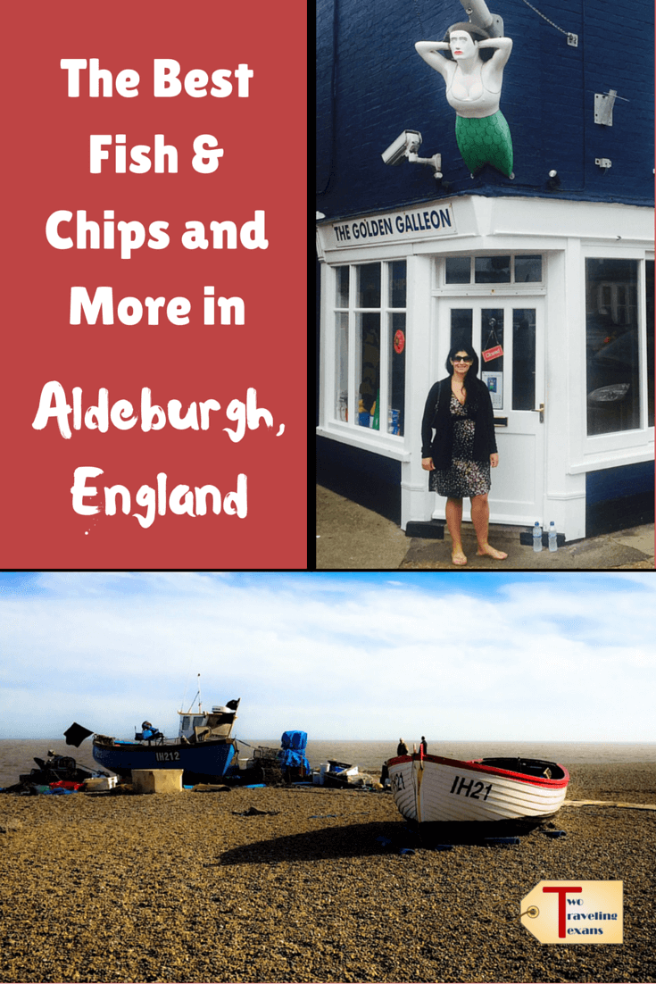 """pictures of aldeburgh england with text overlay """"the best fish & chips and more in Aldeburgh england"""""""