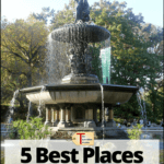 "fountain in central park with text overlay ""NYC Travel - 5 Best places to see in Central Park"""