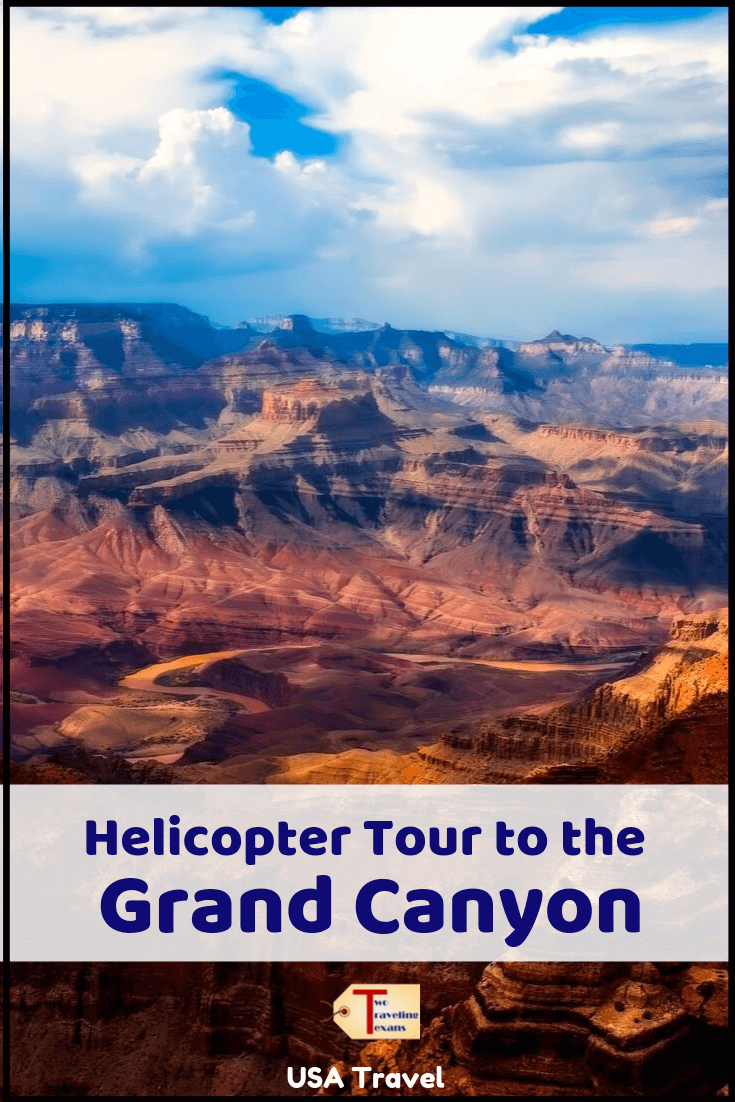 """grand canyon in arizona with text overlay """"helicopter tour of the Grand Canyon - USA Travel"""""""