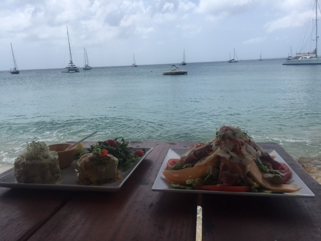 "Tartare sampler and a tropical salad, right on Grand Case beach. - ""Our Five Favorite Restaurants in St Martin"" - Two Traveling Texans"