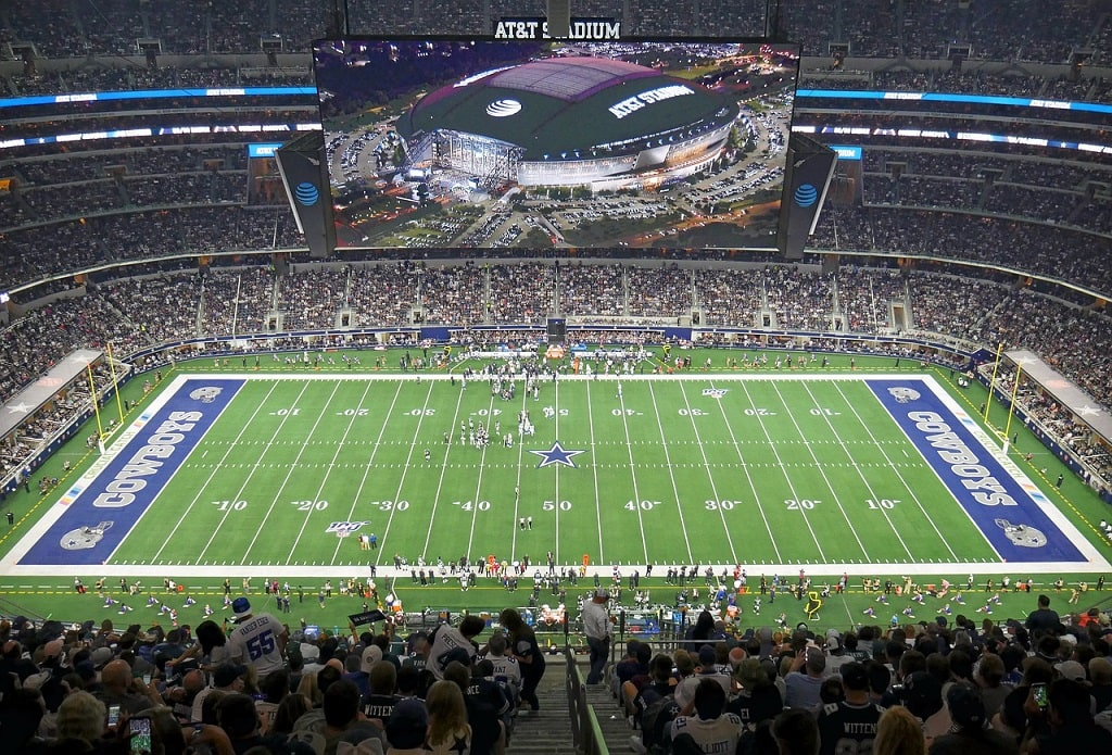 the football field inside AT&T Stadium, home of the Dallas Cowboys