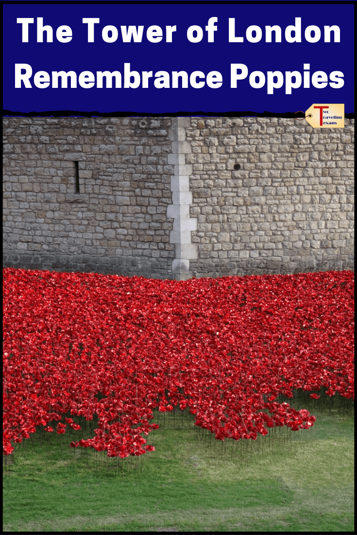 "poppies around the wall of the Tower of London with text overlay ""The Tower of London Remembrance Poppies"""