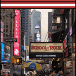 """broadway in nyc with text overlay """"7 wys to find cheap broadway show tickets"""""""