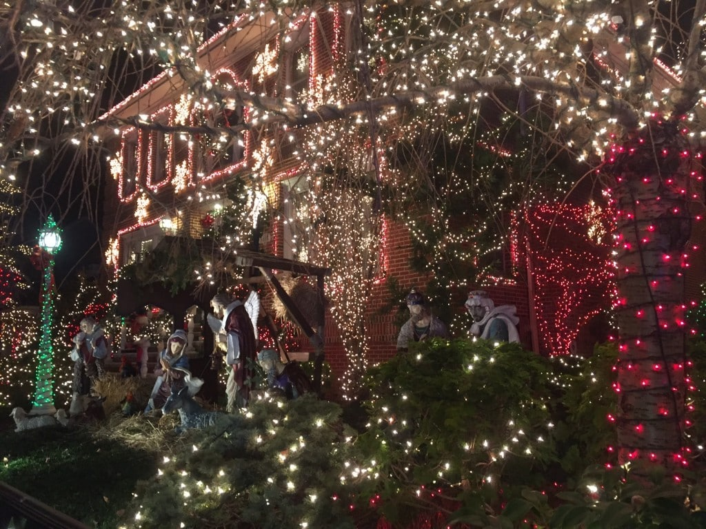 So many Christmas lights and a nativity scene in Dyker Heights Brooklyn
