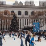 "bryant park ice skating rink with text overlay ""things to do - christmas in nYC"""