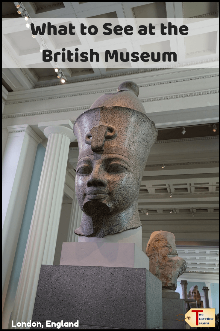egyptian art at the British Museum with text overlay What to See at the British Museum