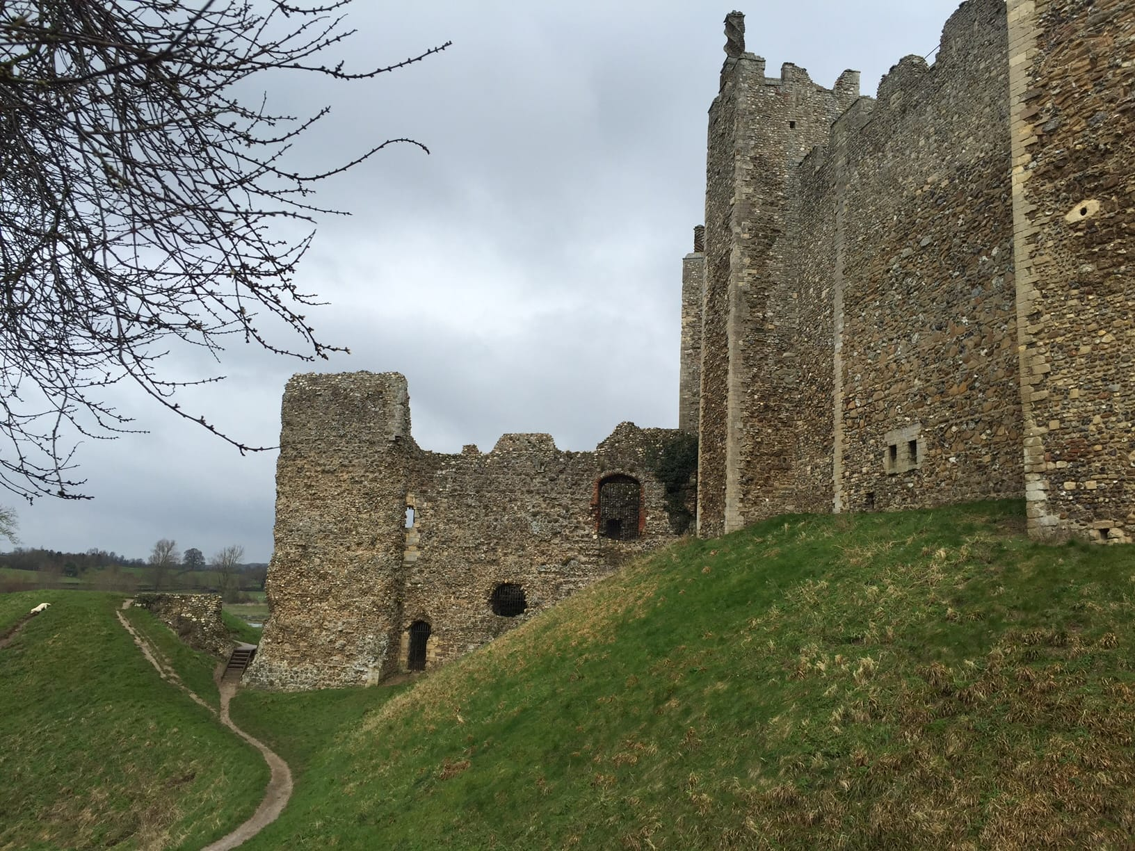 The walking paths in the dry moat outside Framlingham Castle.