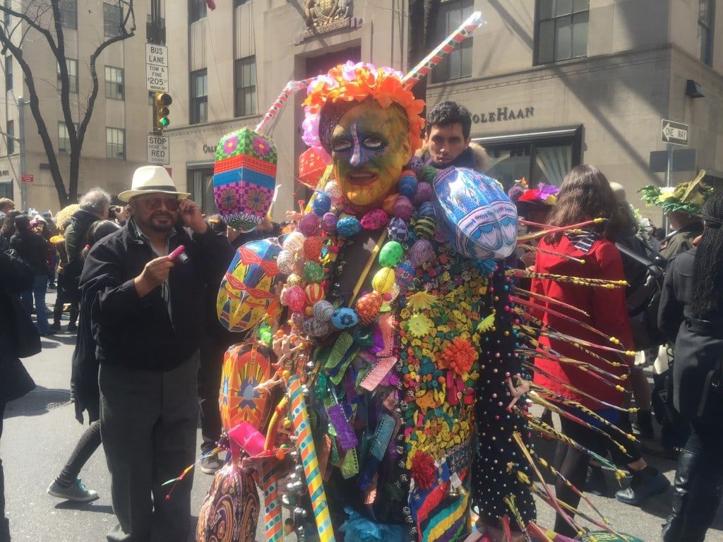 This could probably work equally well as a Halloween costume. - NYC Easter Bonnet Parade - Two Traveling Texans