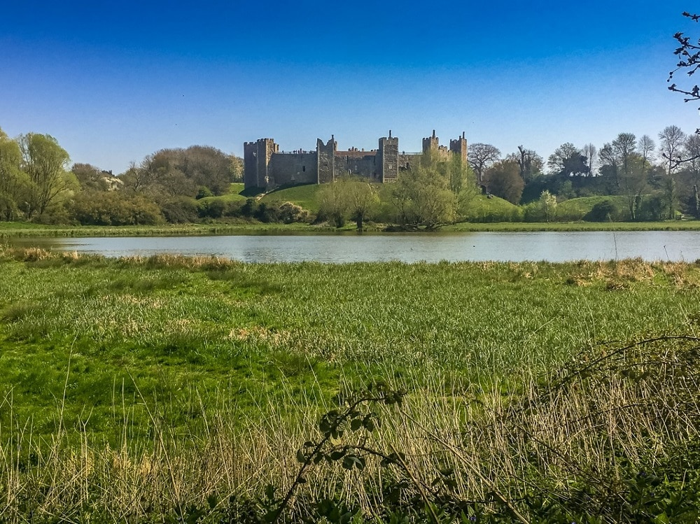 view of Framlingham castle from the Framlingham mere walk