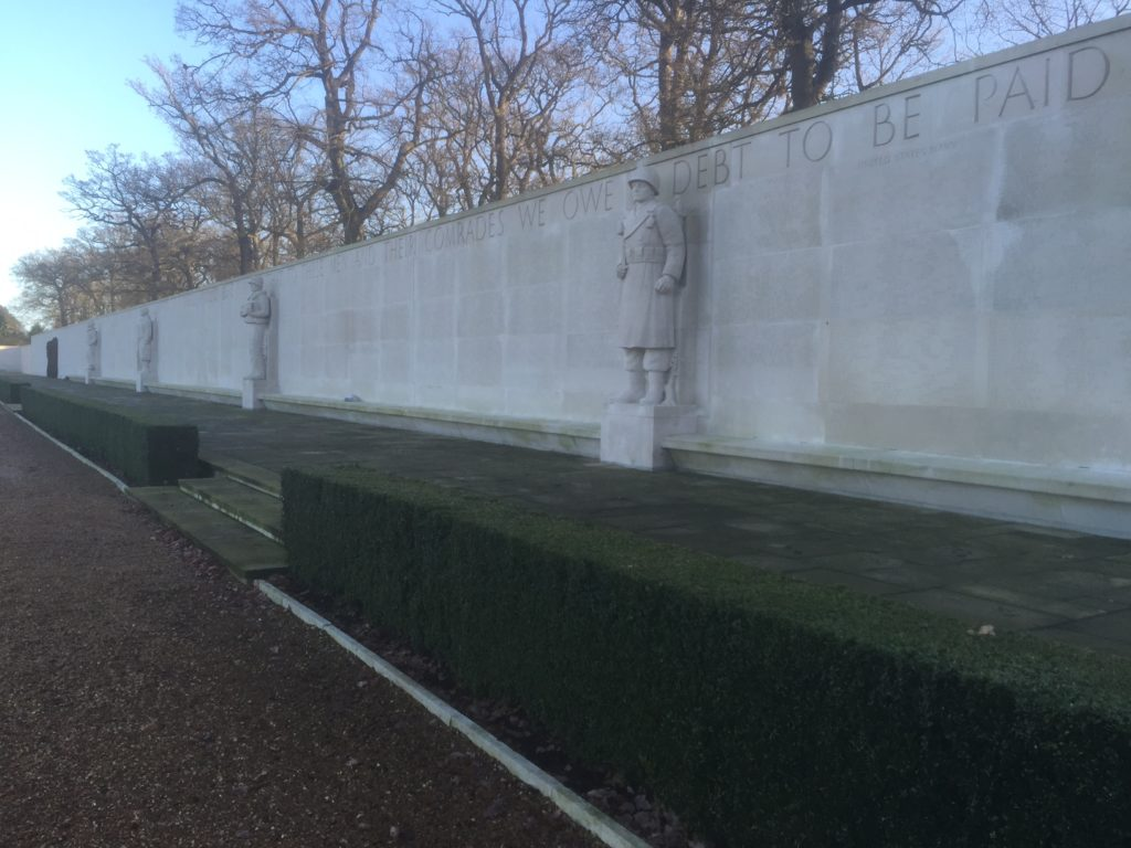 The Wall of the Missing at the Cambridge American Cemetery