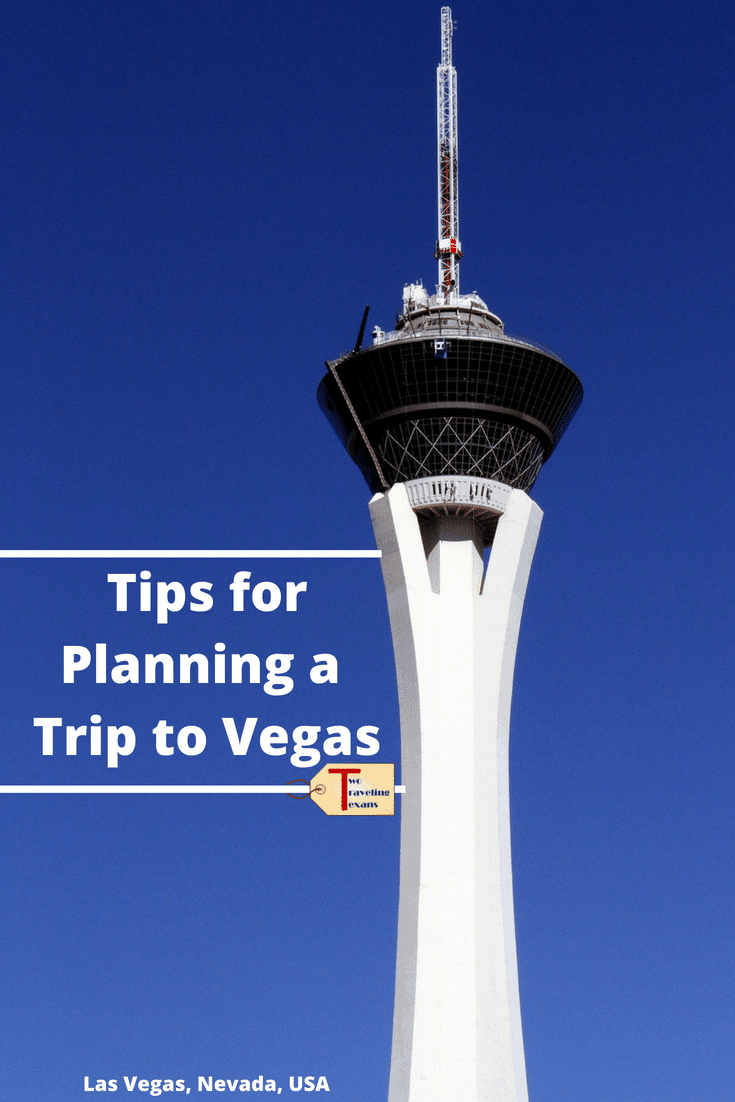 "stratosphere tower with text overlay ""tips for planning a trip to Vegas"""