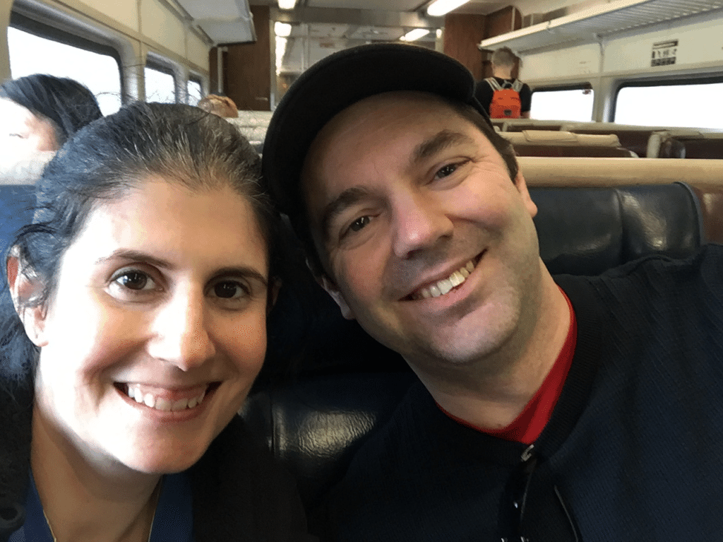 All smiles on the train ride home, but let me tell you, we were exhausted!