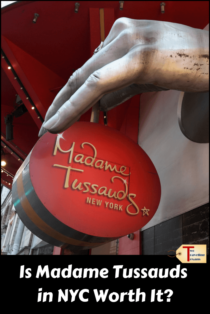 "entrance to madame tussauds in New York with text overlay ""is madame tussauds in NYC worth it?"