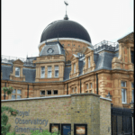 "greenwich observatory building with text overlay ""visit the greenwich observatory - london, england"""