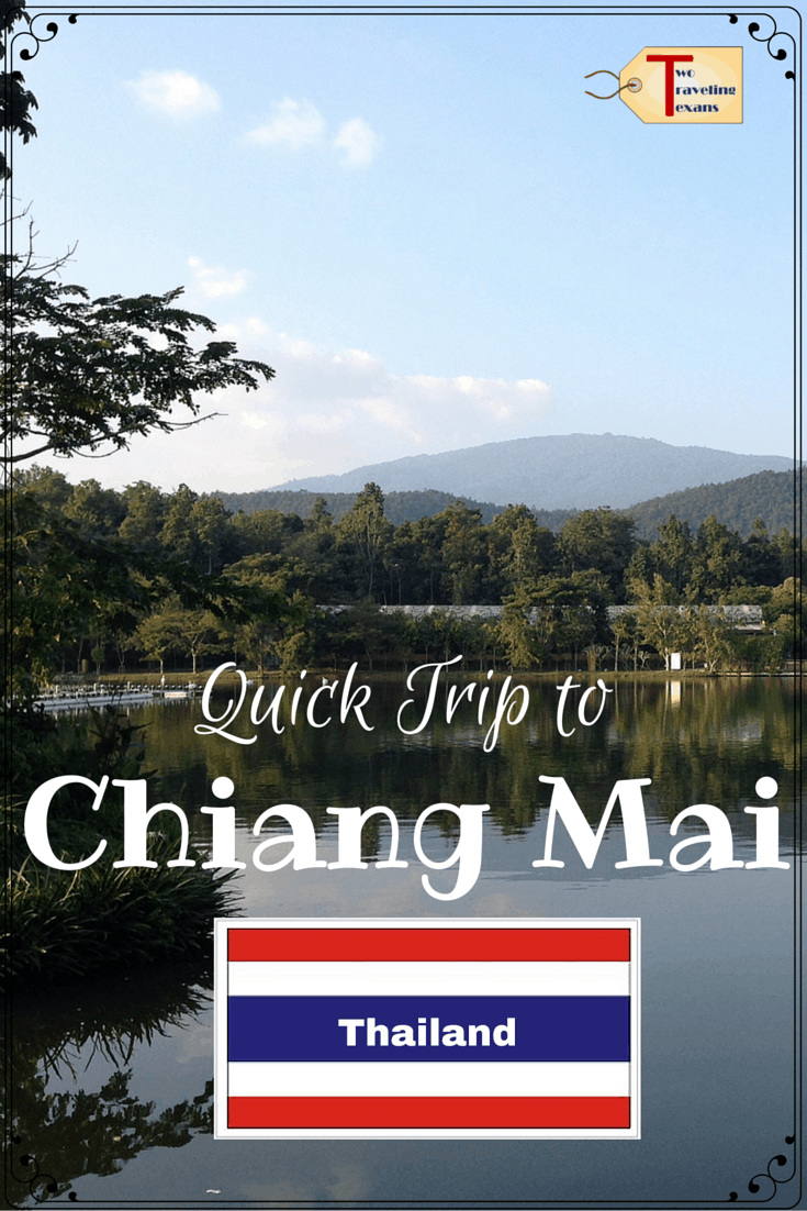 """photo of chiang mai with thailand flag and text overlay """"quick trip to Chiang Mai, Thailand"""""""
