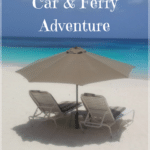 """beach in Anguilla with text overlay """"Anguilla Car & Ferry Adventure"""""""