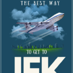 """illustration of an airplane with text overlay """"the best way to get to jfk"""""""