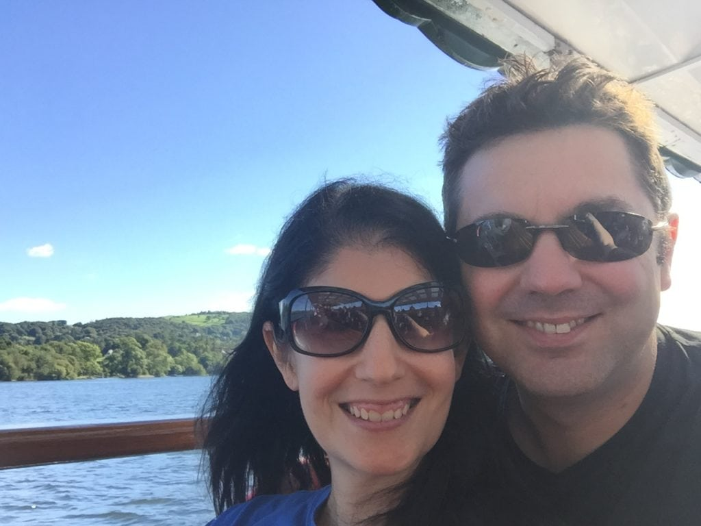 "Anisa and Russell on the Lake Windermere Cruise to Ambleside. - ""An Introduction to England's Lake District"" - Two Traveling Texans"