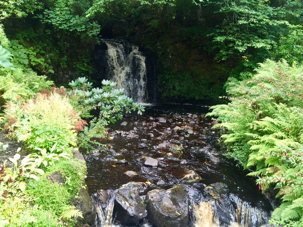 One of the waterfalls in the water garden at Dunvegan Castle.
