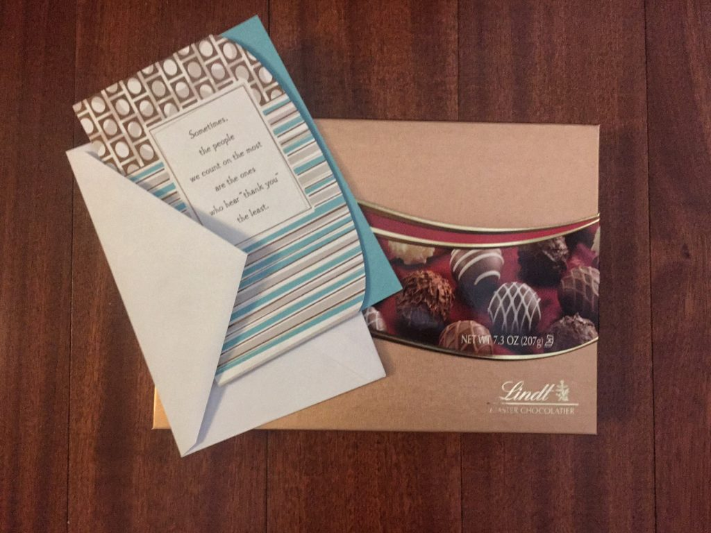 Just a small token of my appreciation - chocolates and a thank you card. - acts of kindness images