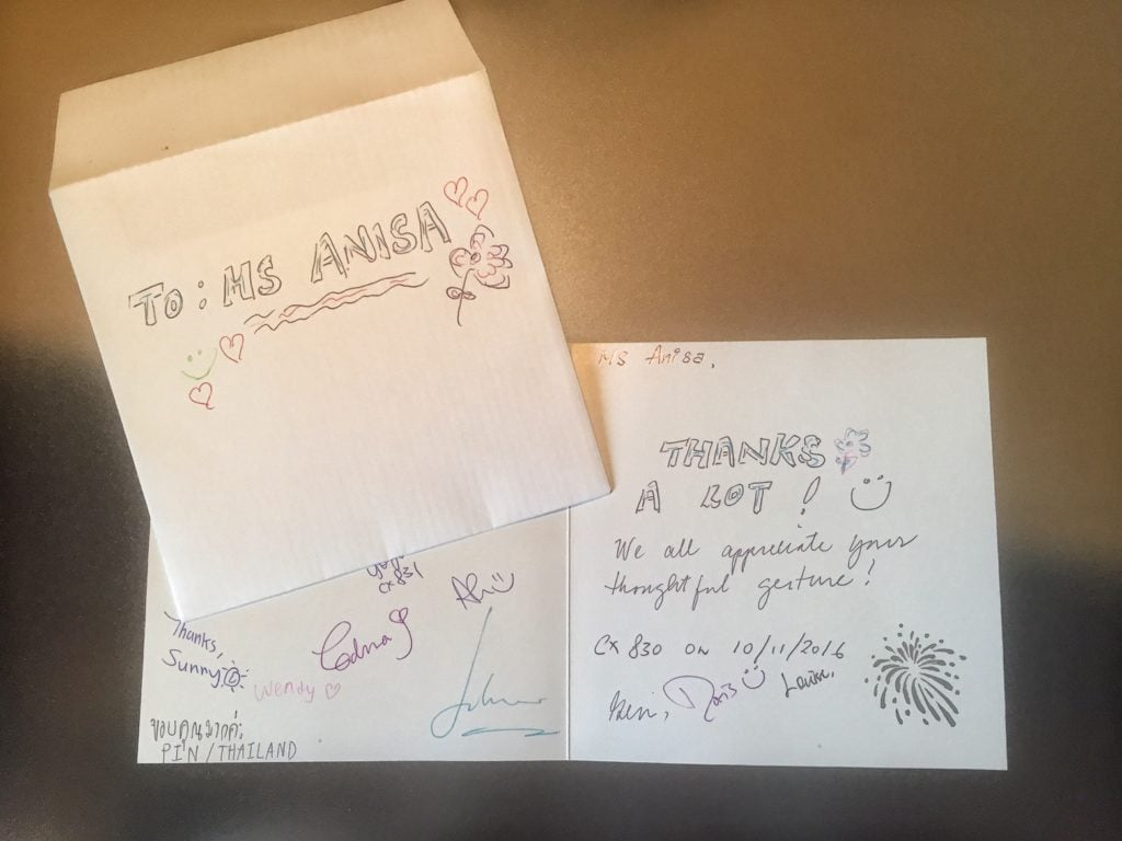"The whole crew sign a card for me - so thoughtful of them!"" - Random acts of kindness images- Spread kindness - Spark Hope Tag"" - Two Traveling Texans"