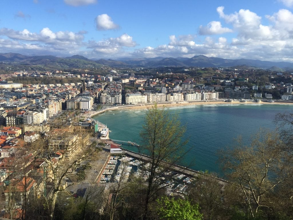 The view of the city of San Sebastian and La Concha beach from Monte Urgull.