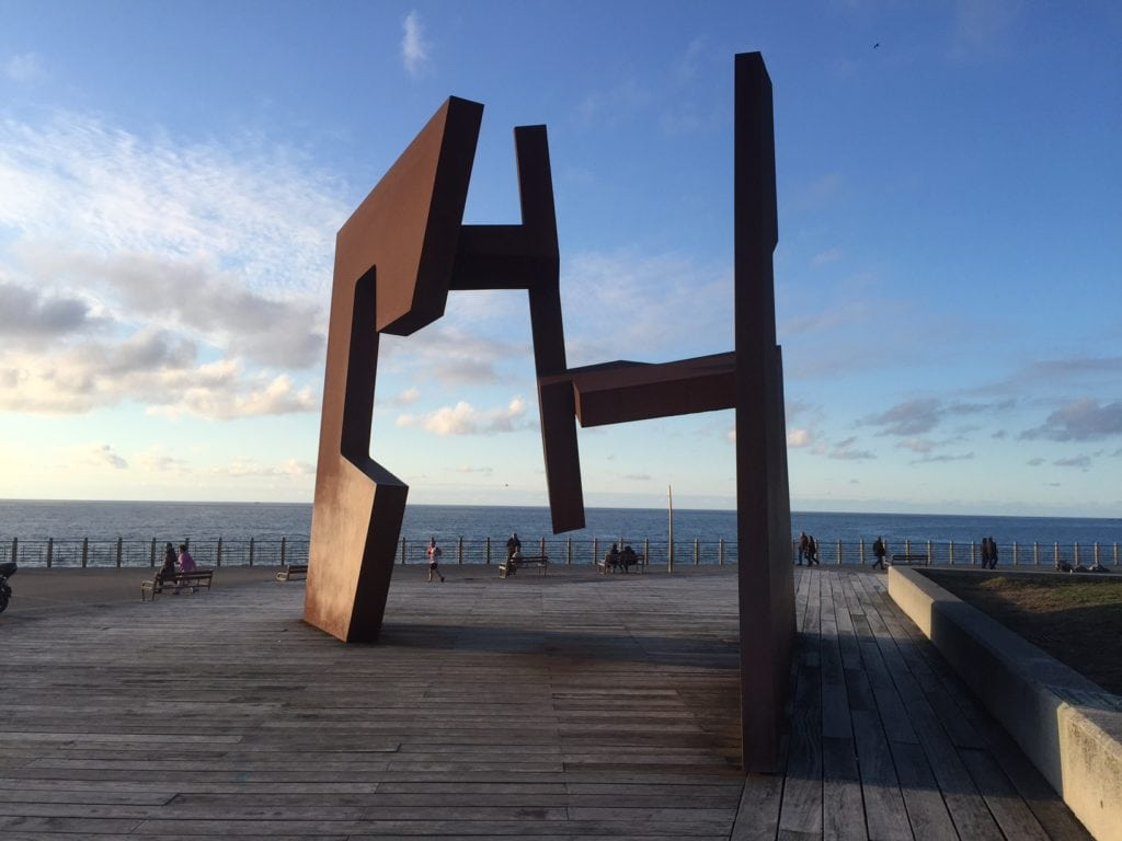 "Sculpture called Open Construction by Jorge Oteiza. -""San Sebastian's Monte Urgull is Worth the Hike!"" - Two Traveling Texans"