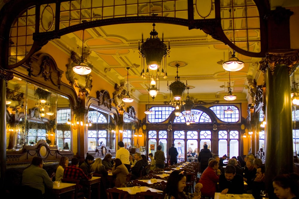 Inside Majestic Cafe in Porto