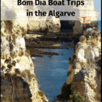 """rock formation in the algarve with text """"bom dia boat trips in the algarve - lagos, portugal"""""""
