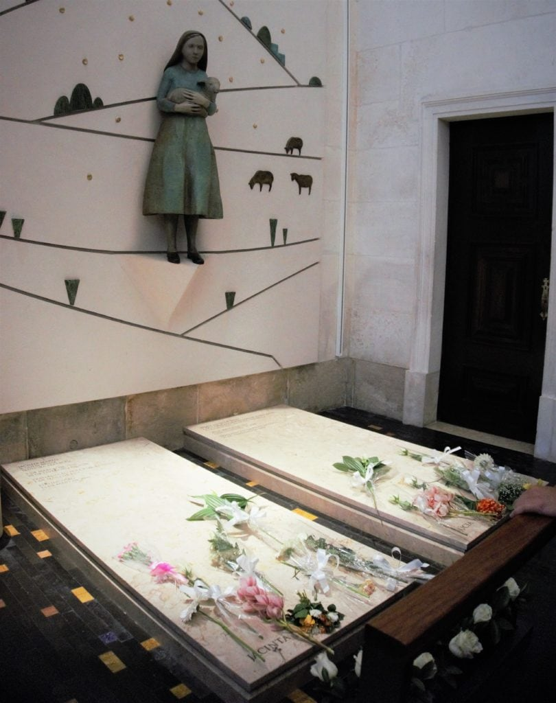"The graves of Jacinta and Francisco inside the Basilica of Our Lady of the Rosary. ""Fatima Pilgrimage: 100 Years and Counting"" - Two Traveling Texans"