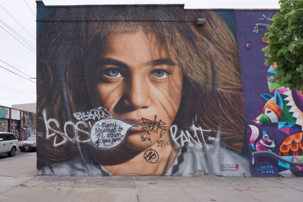 """I just loved this mural, and it made me so upset to see the graffiti on it! - """"Brooklyn Graffiti and Street Art Tour"""" - Two Traveling Texans"""