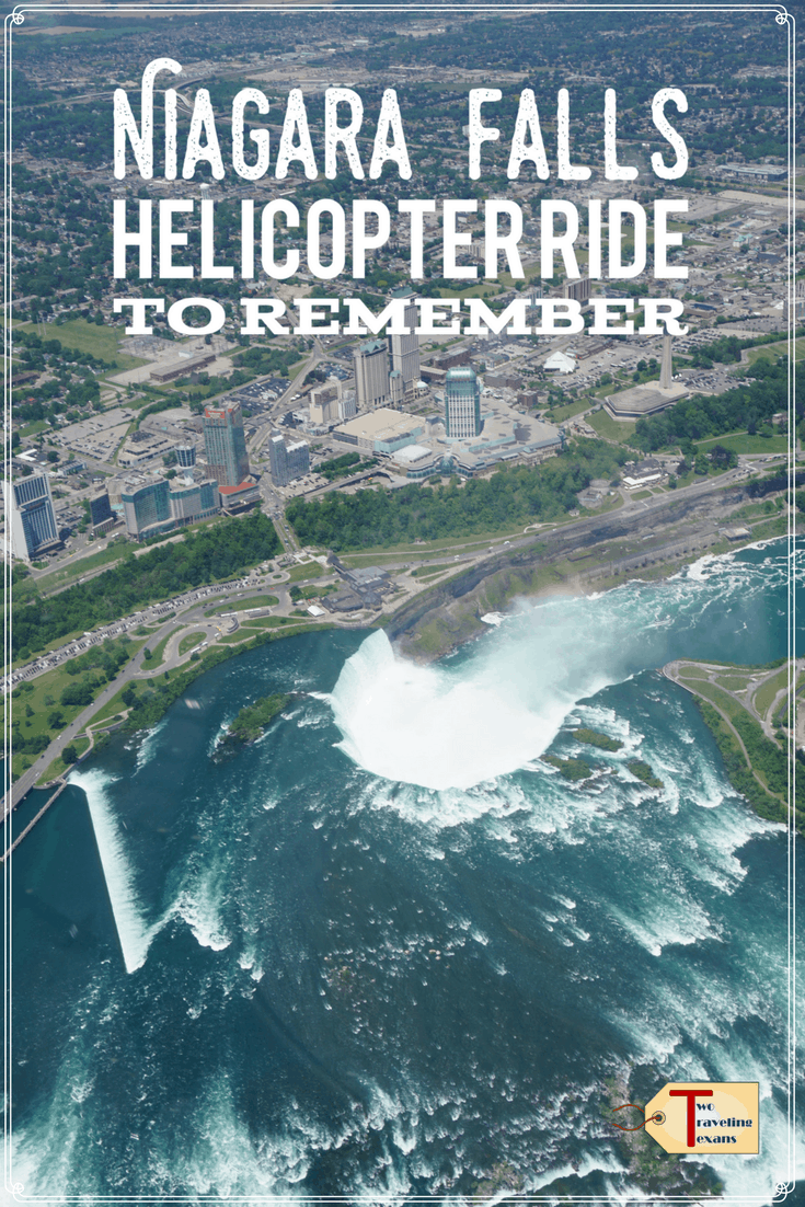 view of the horseshoe falls from a helicopter with text overlay