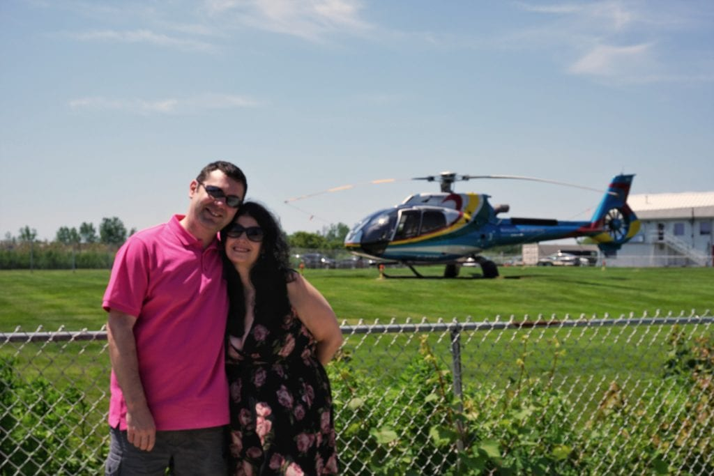 "Obligatory photo with the helicopter. - ""Niagara Falls Helicopter Ride to Remember"" - Two Traveling Texans"