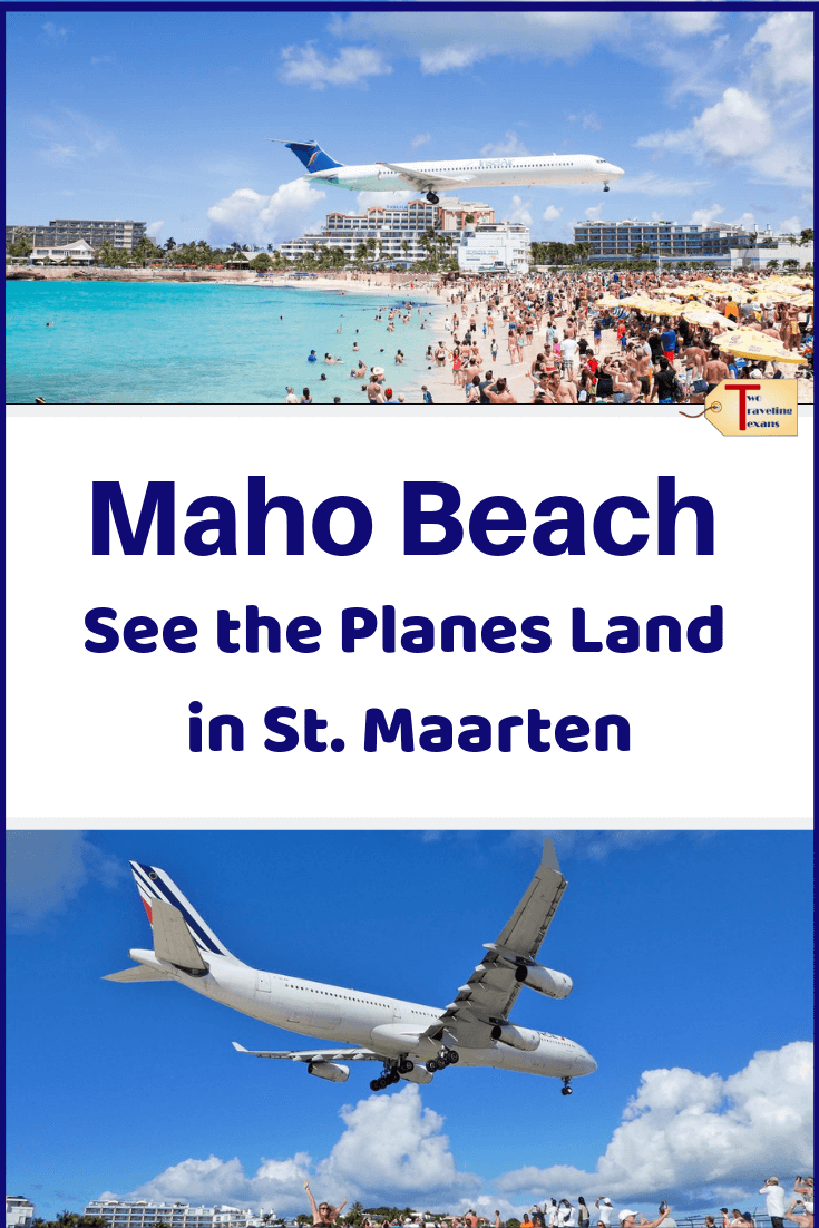 photos of planes landing over Maho Beach in St. Martin with text overlay