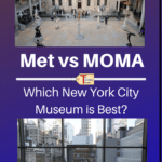 """pictures of the inside of the metropolitan museum of art and moma in NYC with text overlay """"met vs moma: which new york city museum is best?"""""""