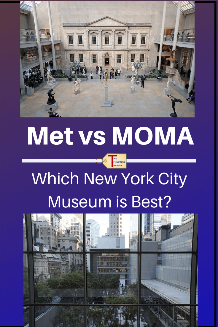 pictures of the inside of the metropolitan museum of art and moma in NYC with text overlay