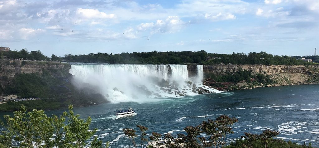 "The American Falls and the Bridal Veil Falls are right next to each other. The Bridal Veil Falls is on the right. - ""Cave of the Winds Niagara Falls Closeup"" - Two Traveling Texans"