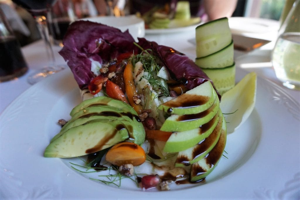 "Our first course was one of the prettiest salad's I've ever eaten and it tasted delicious too. - ""Discovering Wineries in Niagara on the Lake Canada"" - Two Traveling Texans"