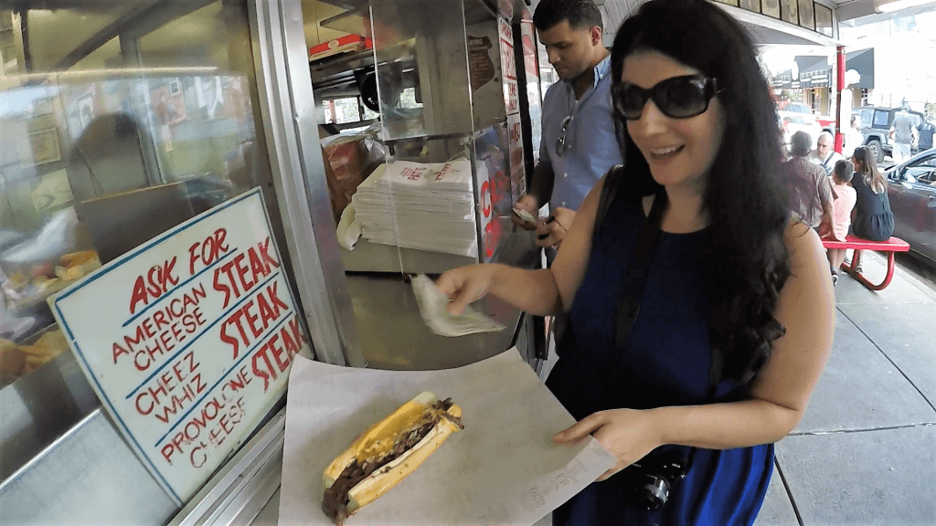 "Pat's Cheesesteak with Cheese Whiz and Onions - ""Taste Test: Pat's Vs Geno's Cheesesteaks"" - Two Traveling Texans"