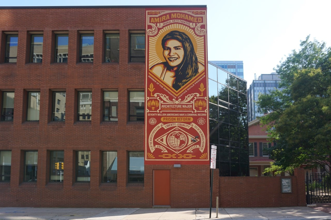 "Shepard Fairey, the artist behind Obama's hope campaign, created this mural of one of the people that the Mural Arts program has helped. - ""Philadelphia Mural Mile Tour: Get Inspired!"" - Two Traveling Texans"