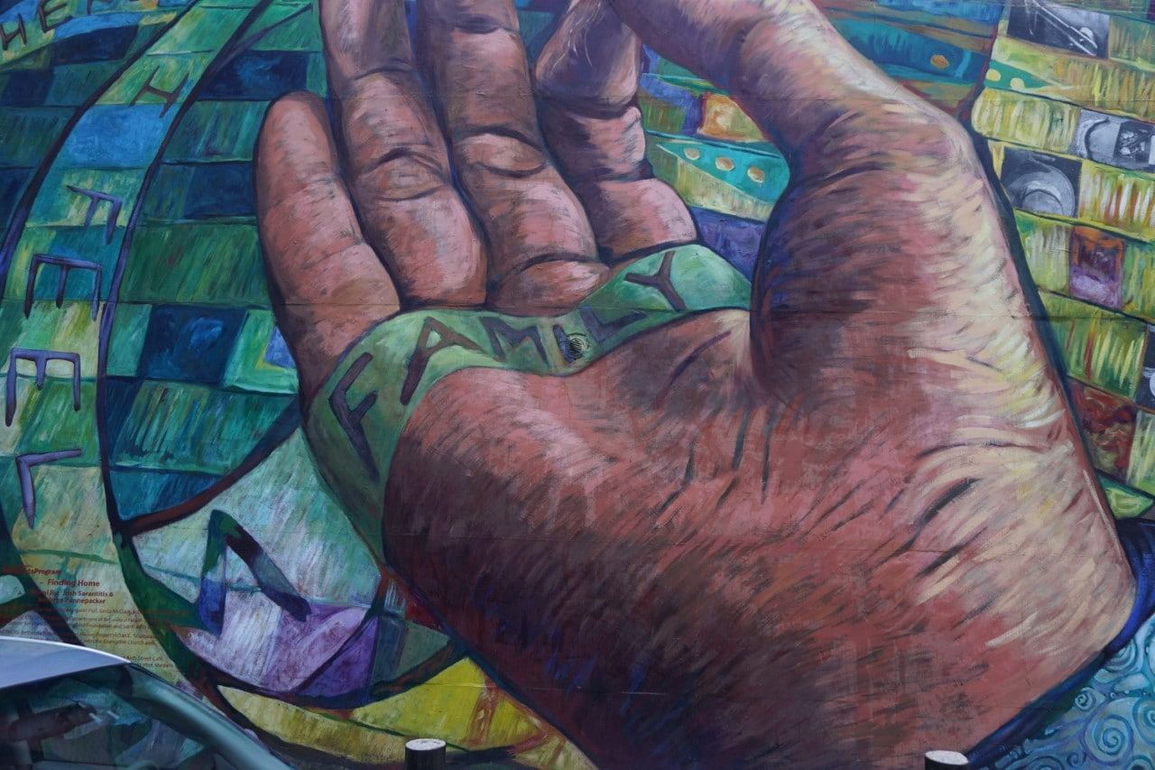 "A closeup of part of the Finding Home mural. - - ""Philadelphia Mural Mile Tour: Get Inspired!"" - Two Traveling Texans"
