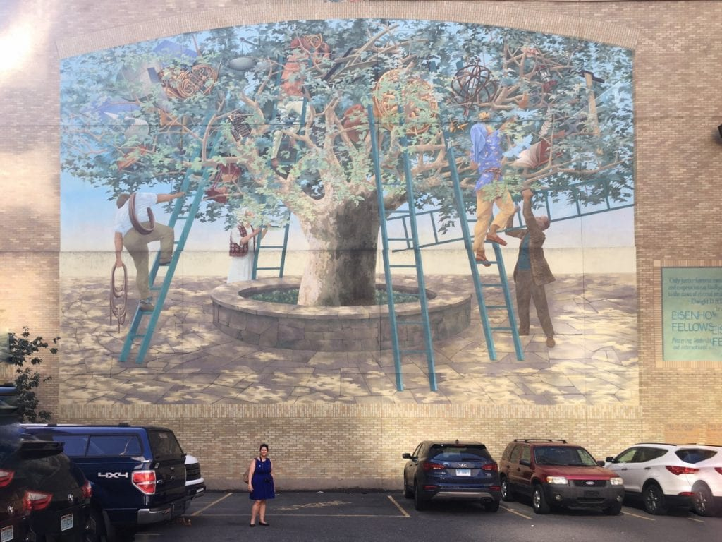 "You can get a sense of the scale of the Tree of Knowledge mural. Do you see Anisa? - ""Philadelphia Mural Mile Tour: Get Inspired!"" - Two Traveling Texans"