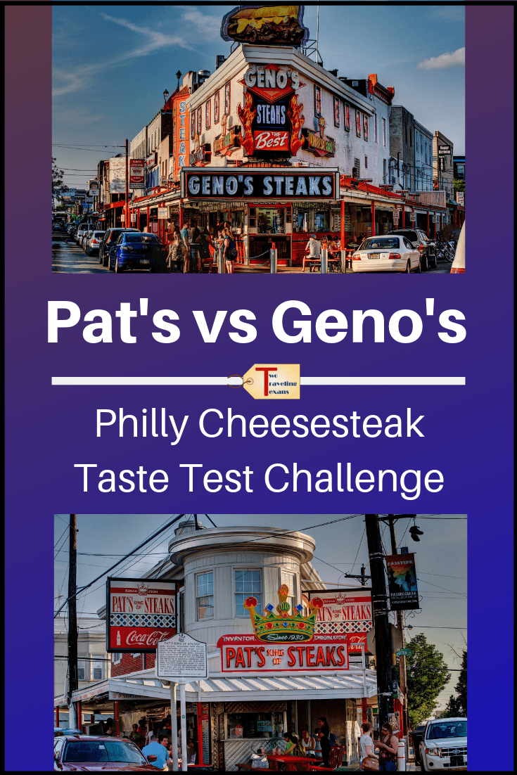 "geno's steaks and pat's king of steaks with text ""pat's vs geno's - philly cheesesteak taste test challenge"""