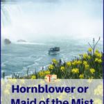"niagara falls boat with text overlay ""hornblower or the maid of the mist - which boat tour is best?"""