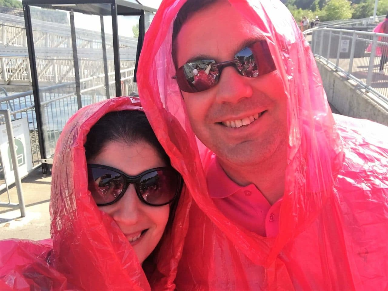 We have our ponchos and we are ready to board the boat! -