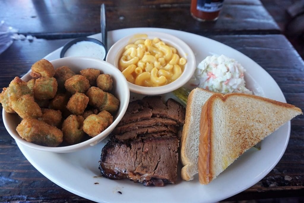 "My brisket plate at Riscky's BBQ. - ""Fort Worth Stockyards: Learn About the Old West"" - Two Traveling Texans"