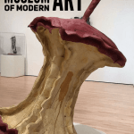"""apple sculpture inside SFMOMA with text overlay """"San Francisco's Museum of Modern Art"""""""