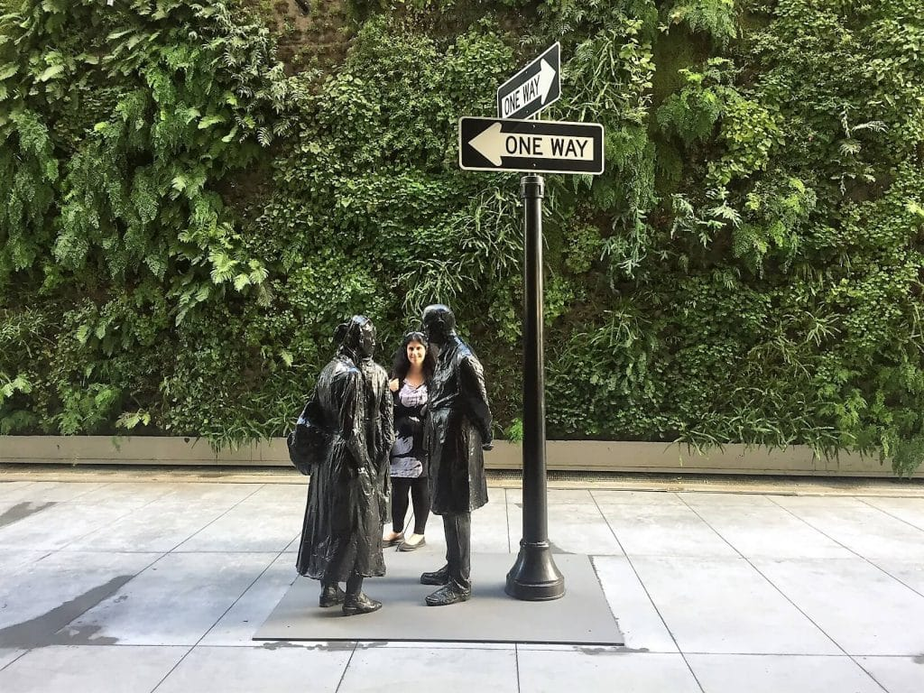 """Anisa checking out the art on the SFMOMA sculpture garden. - - """"SFMOMA: Modern Art in a New Setting"""" - Two Traveling Texans"""