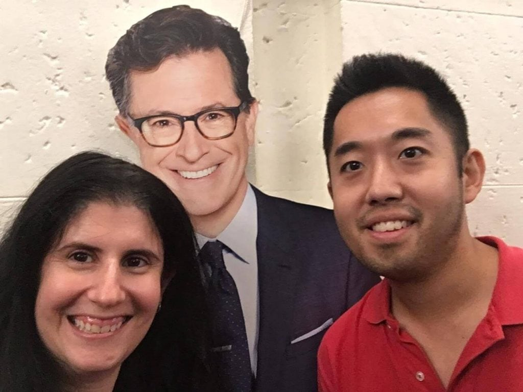 "Selfie with cardboard cutout of Stephen Colbert. - ""How to See TV Tapings in NYC With 1iota Tickets"" - Two Traveling Texans"
